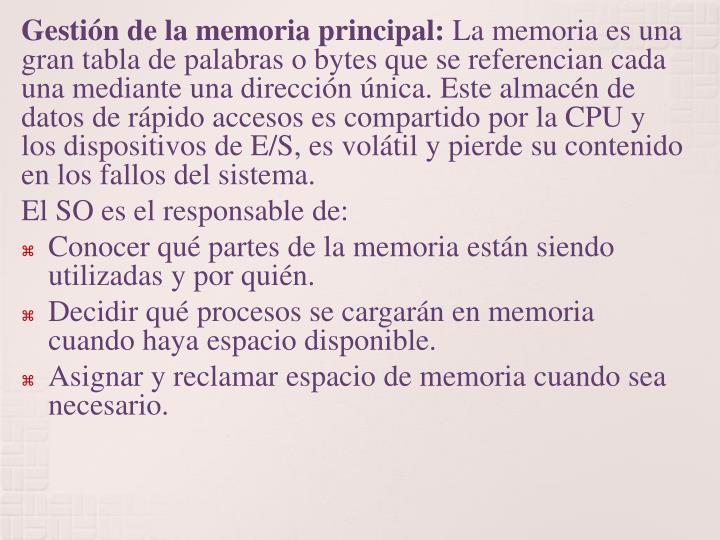 Gestión de la memoria principal: