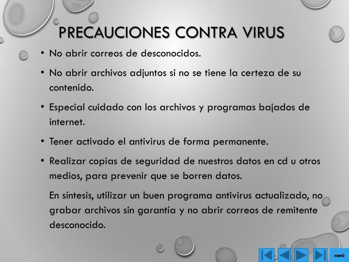 Precauciones contra virus