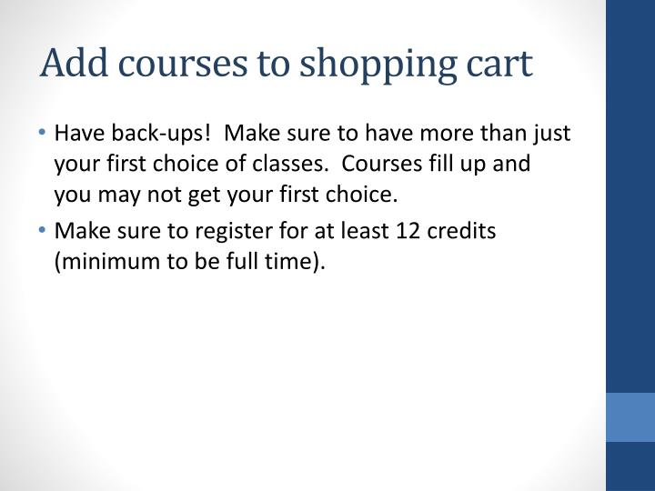 Add courses to shopping cart