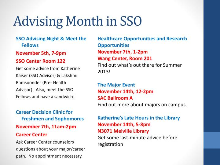 Advising Month in SSO