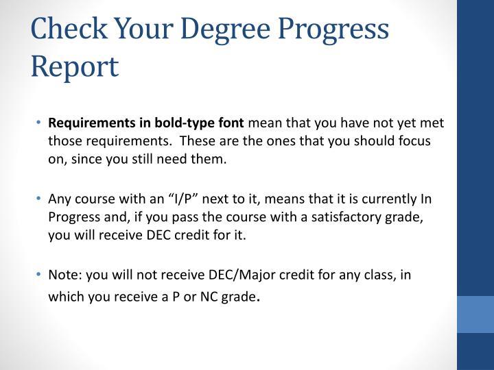 Check Your Degree Progress Report