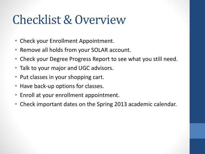 Checklist & Overview