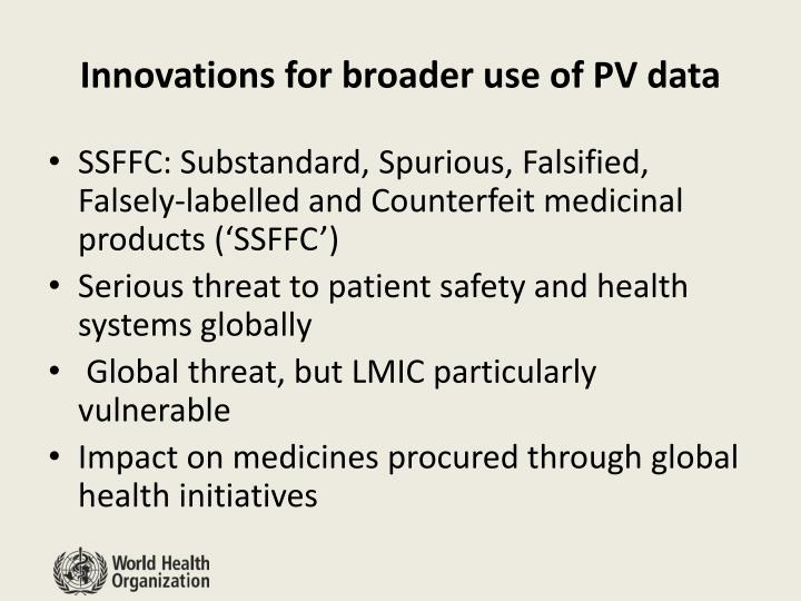 Innovations for broader use of PV data