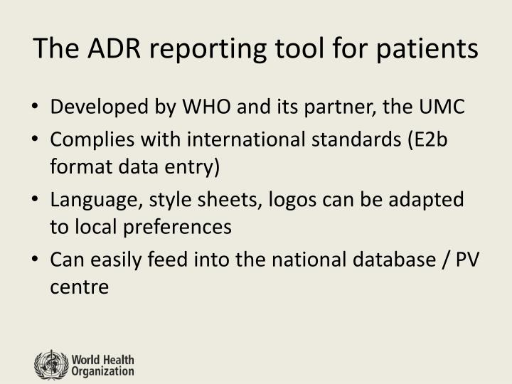 The ADR reporting tool for patients