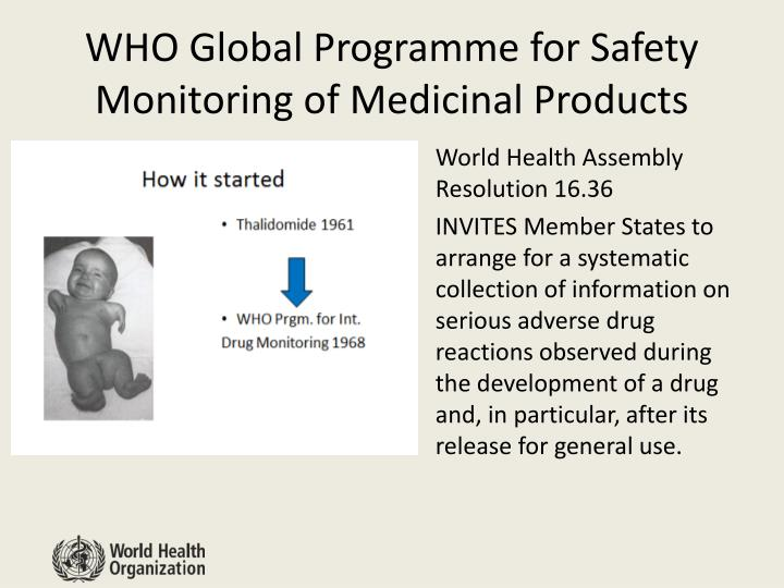 Who global programme for safety monitoring of medicinal products