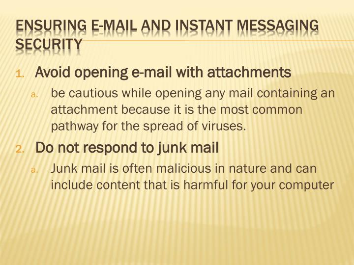 Avoid opening e-mail with