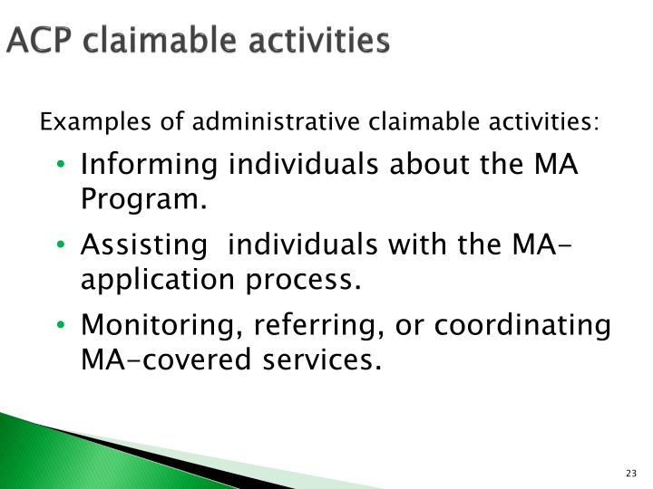 ACP claimable activities