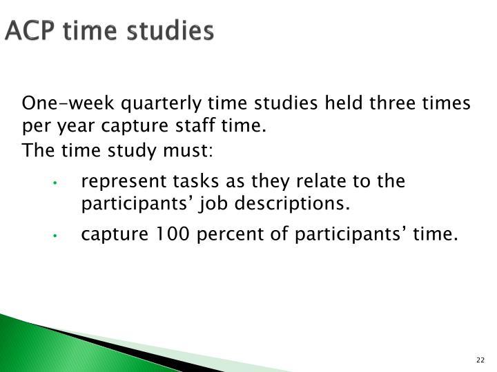 ACP time studies