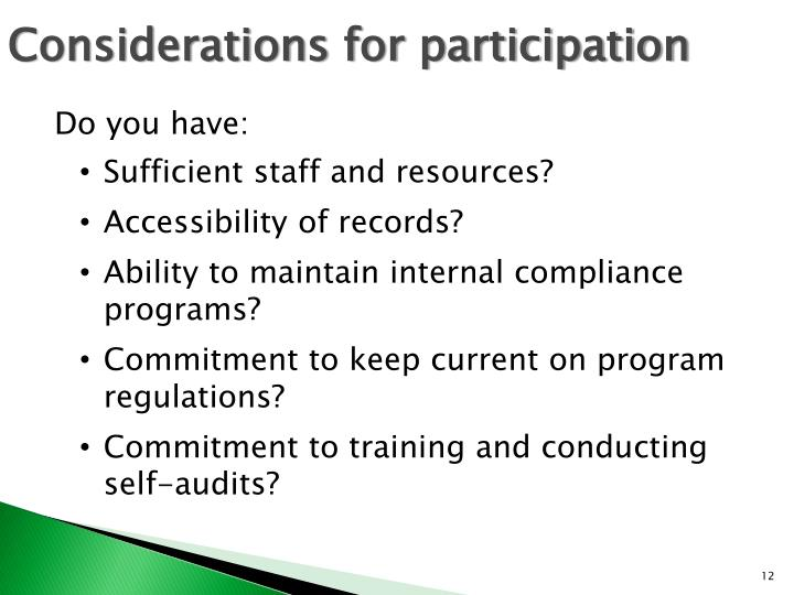 Considerations for participation