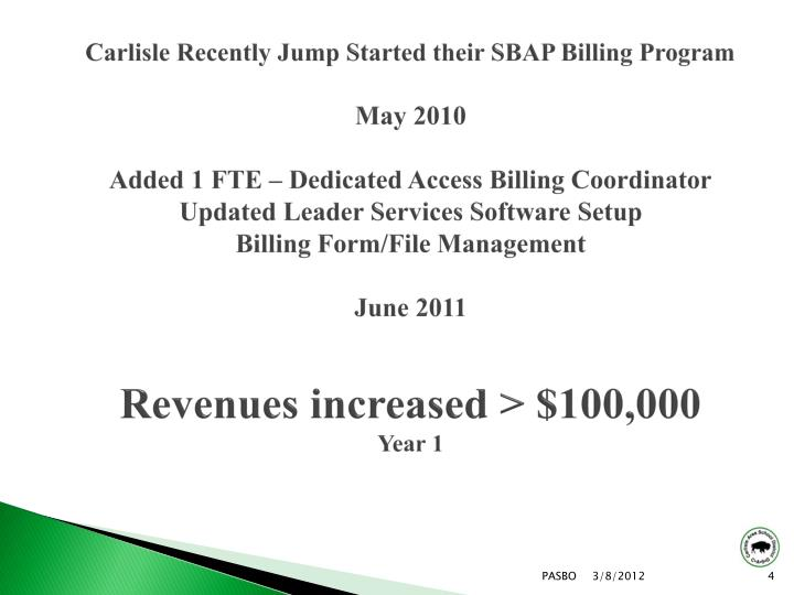 Carlisle Recently Jump Started their SBAP Billing Program