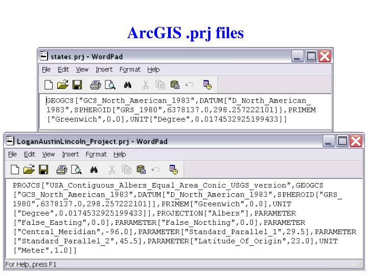 ArcGIS .prj files