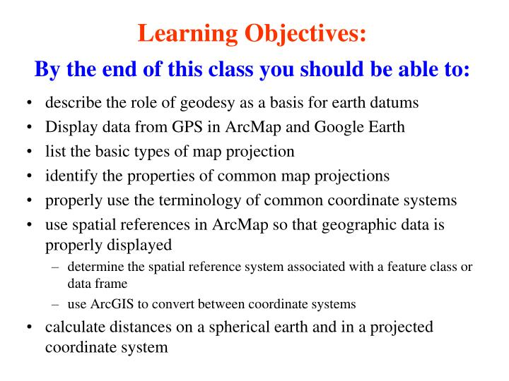 Learning objectives by the end of this class you should be able to
