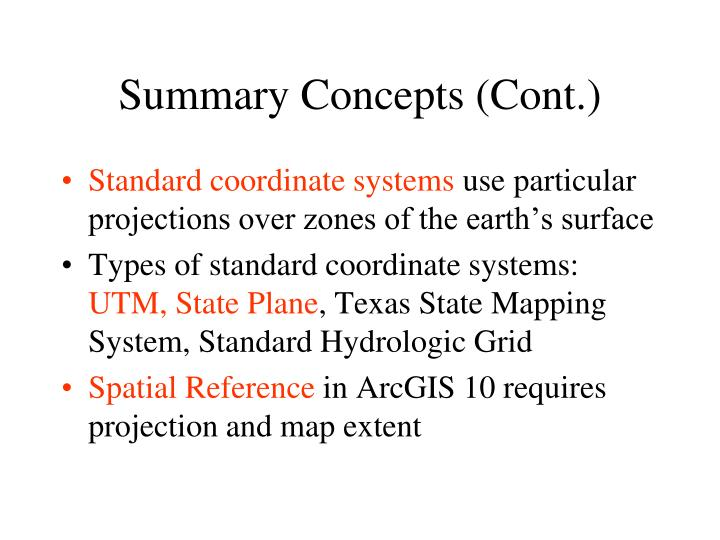 Summary Concepts (Cont.)