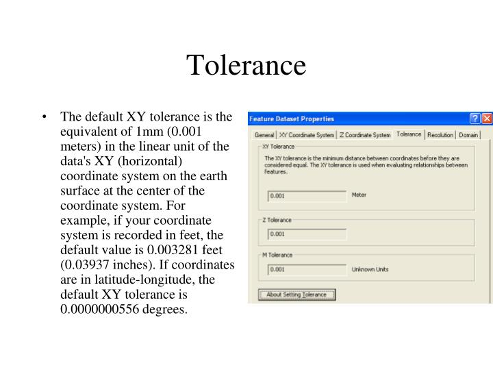 The default XY tolerance is the equivalent of 1mm (0.001 meters) in the linear unit of the data's XY (horizontal) coordinate system on the earth surface at the center of the coordinate system. For example, if your coordinate system is recorded in feet, the default value is 0.003281 feet (0.03937 inches). If coordinates are in latitude-longitude, the default XY tolerance is 0.0000000556 degrees.