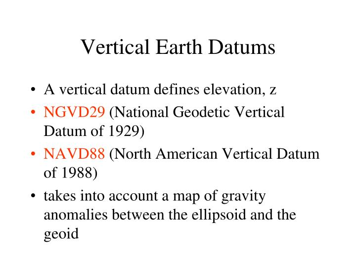Vertical Earth Datums