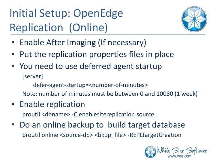 Initial Setup: OpenEdge Replication  (Online)