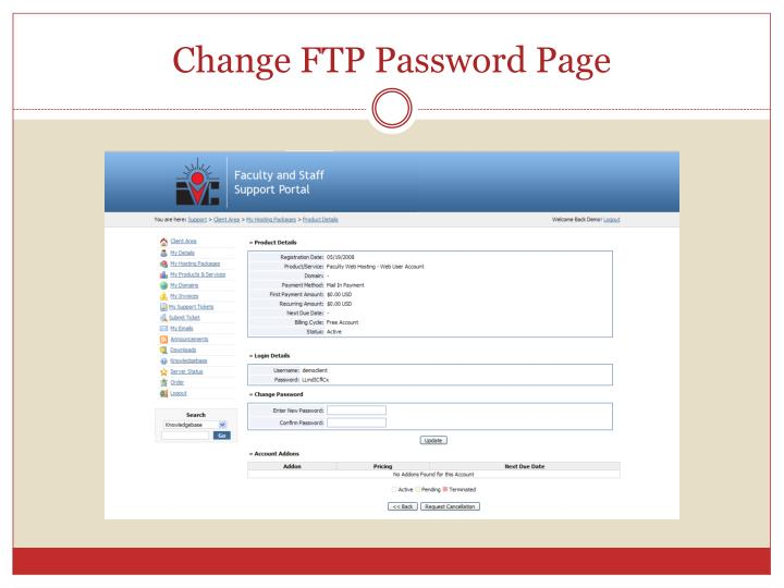 Change FTP Password Page