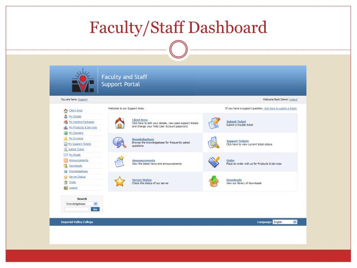 Faculty/Staff Dashboard