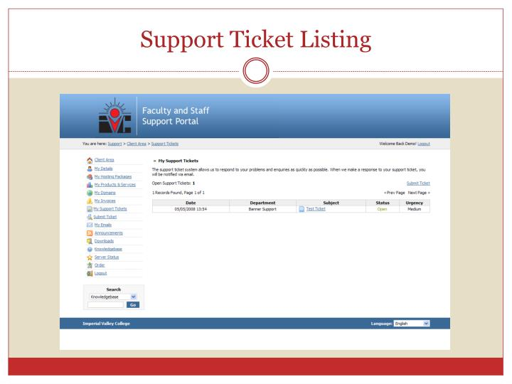 Support Ticket Listing