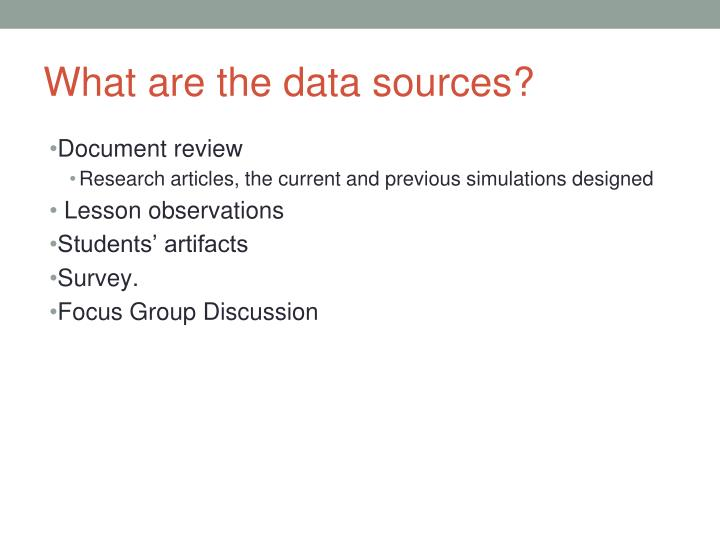 What are the data sources?