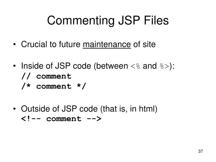 Commenting JSP Files