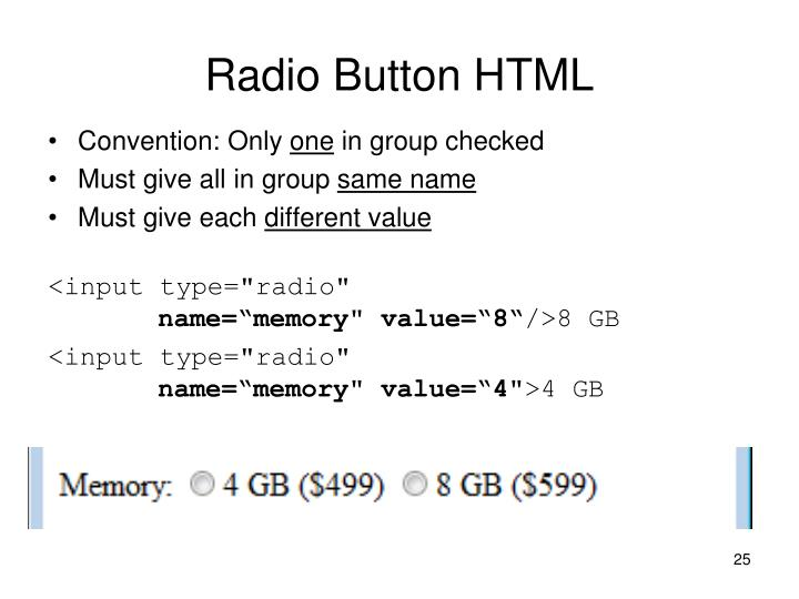 Radio Button HTML