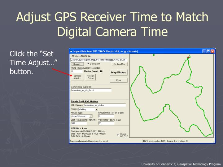 Adjust GPS Receiver Time to Match Digital Camera Time