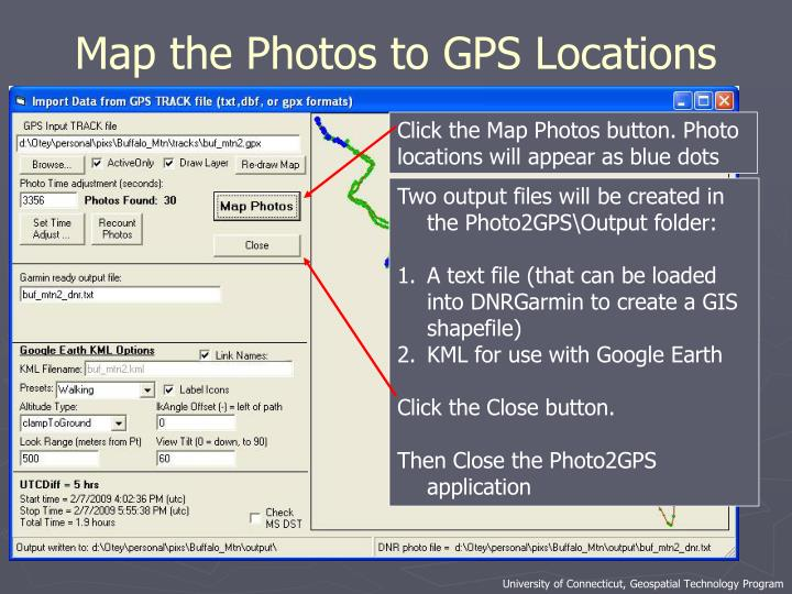 Map the Photos to GPS Locations