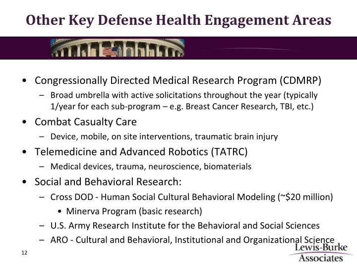 Other Key Defense Health Engagement Areas