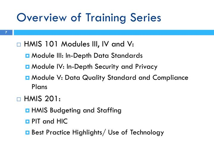 Overview of Training Series