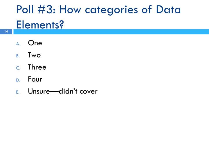 Poll #3: How categories of Data Elements?