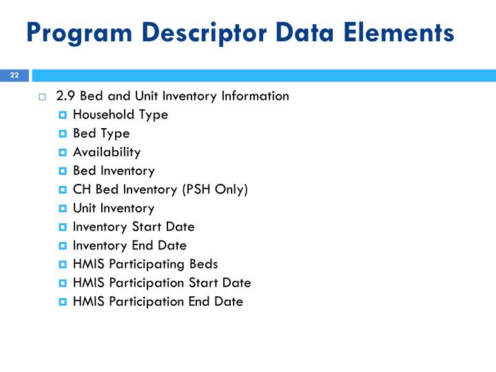 Program Descriptor Data Elements