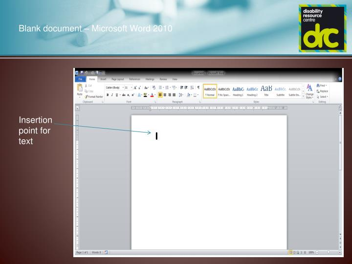 Blank document – Microsoft Word 2010