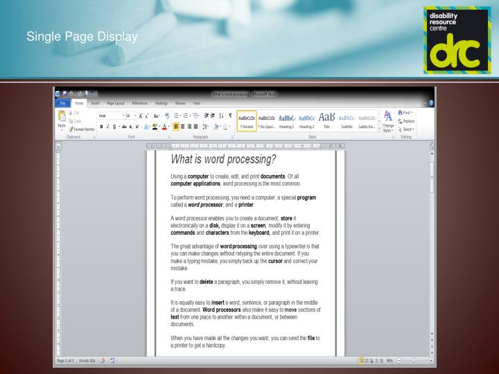 Single Page Display