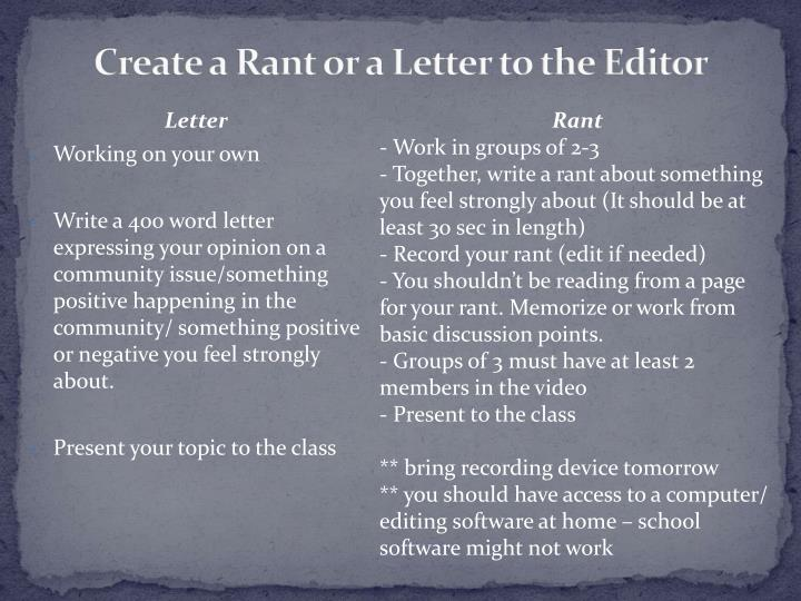 Create a Rant or a Letter to the Editor