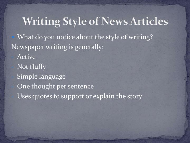 Writing Style of News Articles