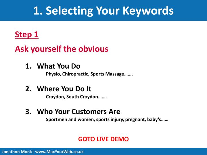 1. Selecting Your Keywords