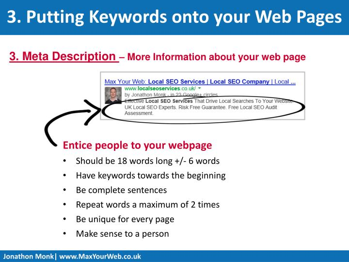 3. Putting Keywords onto your Web Pages