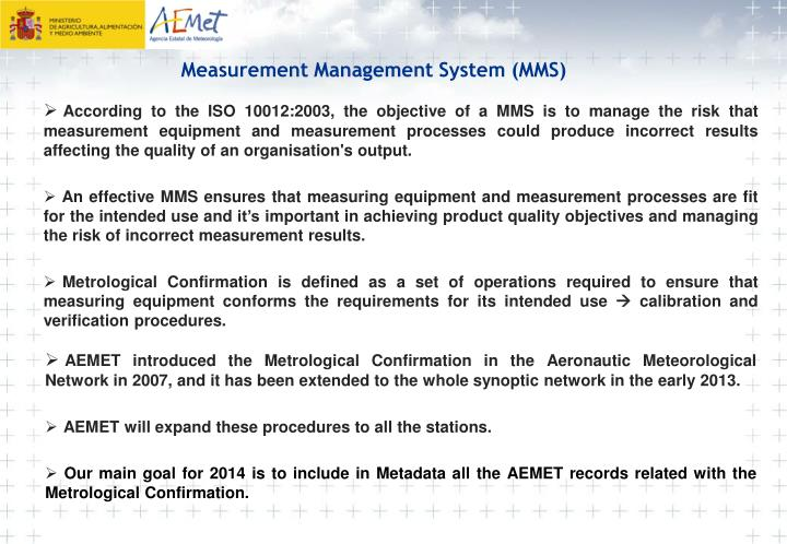 Measurement Management System (MMS)