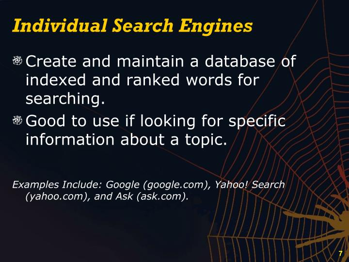 Individual Search Engines