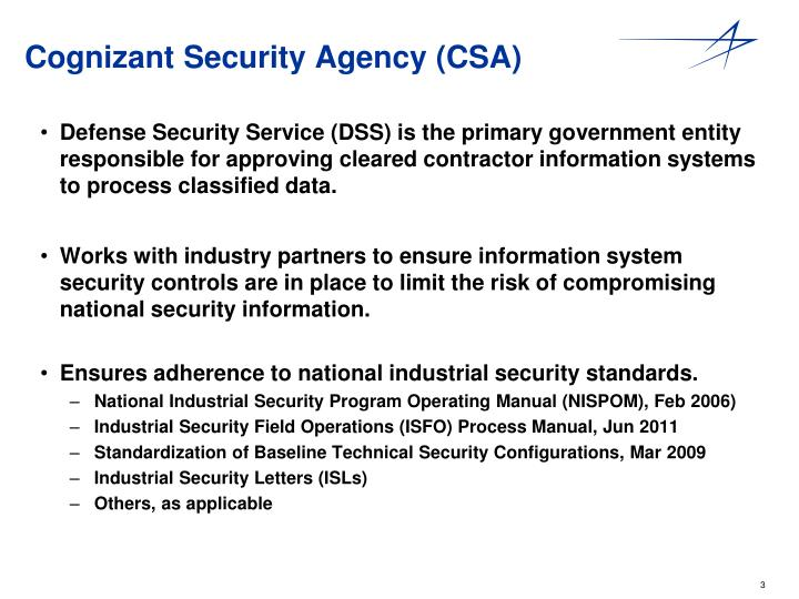 Cognizant security agency csa