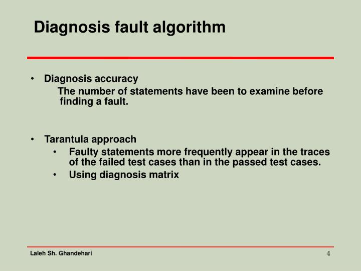 Diagnosis fault algorithm