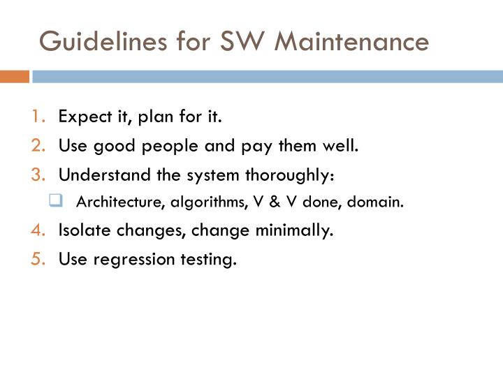 Guidelines for SW