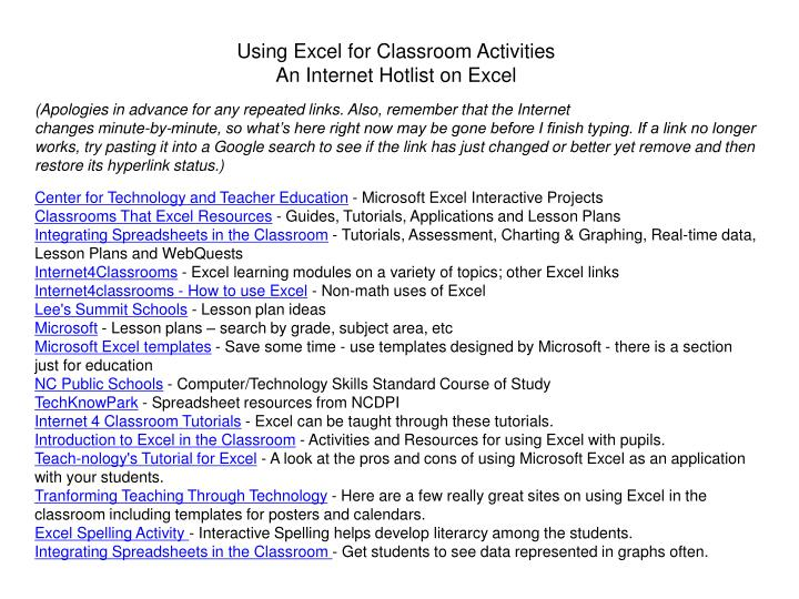 Using Excel for Classroom Activities