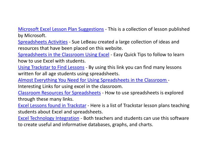 Microsoft Excel Lesson Plan Suggestions