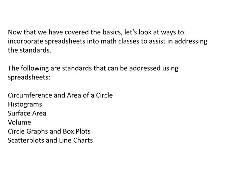 Now that we have covered the basics, let's look at ways to incorporate spreadsheets into math classes to assist in addressing the standards.