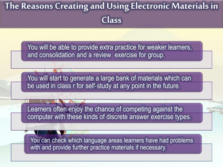 The Reasons Creating and Using Electronic Materials in Class