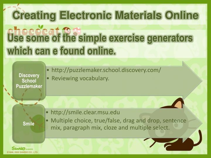 Creating Electronic Materials Online
