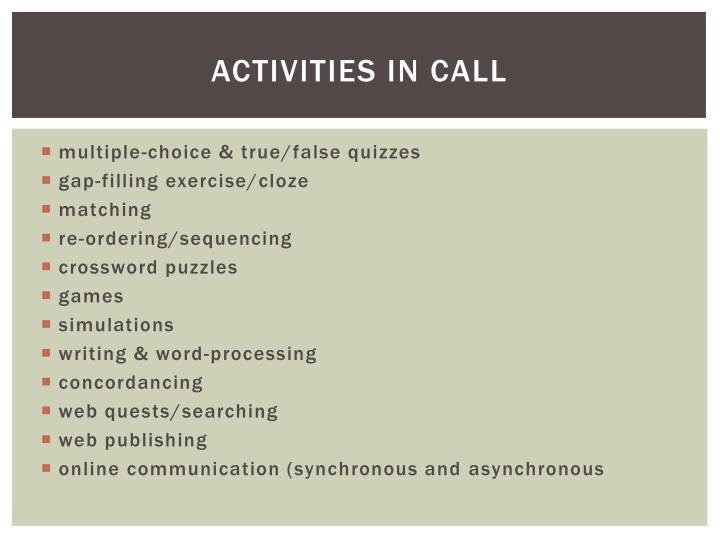 Activities in call