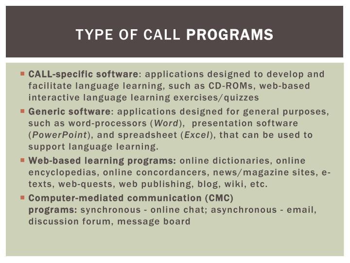 Type of call